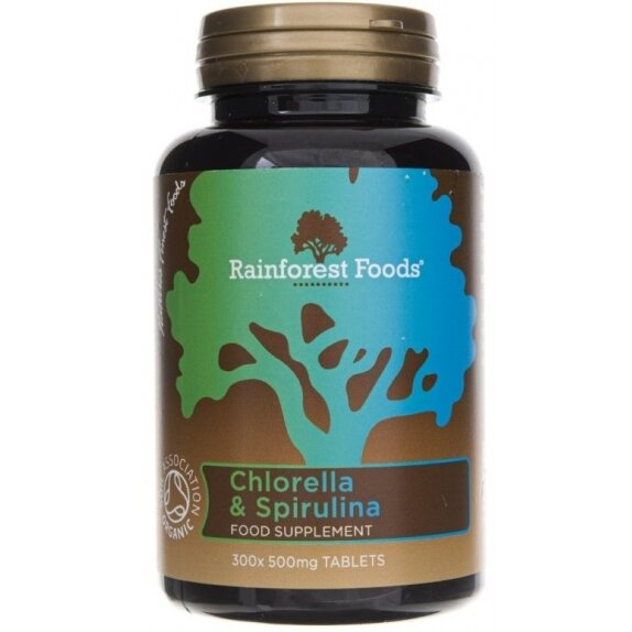 Rainforest Foods Chlorella i Spirulina BIO 500 mg 300 tabletek